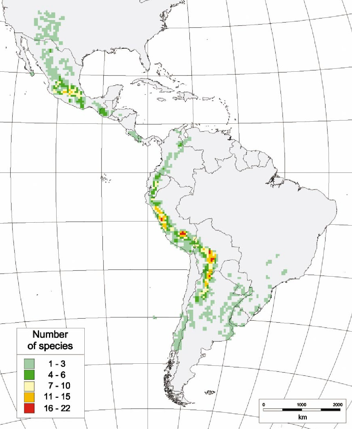 Map depicting the distribution of wild potatoes in Latin America